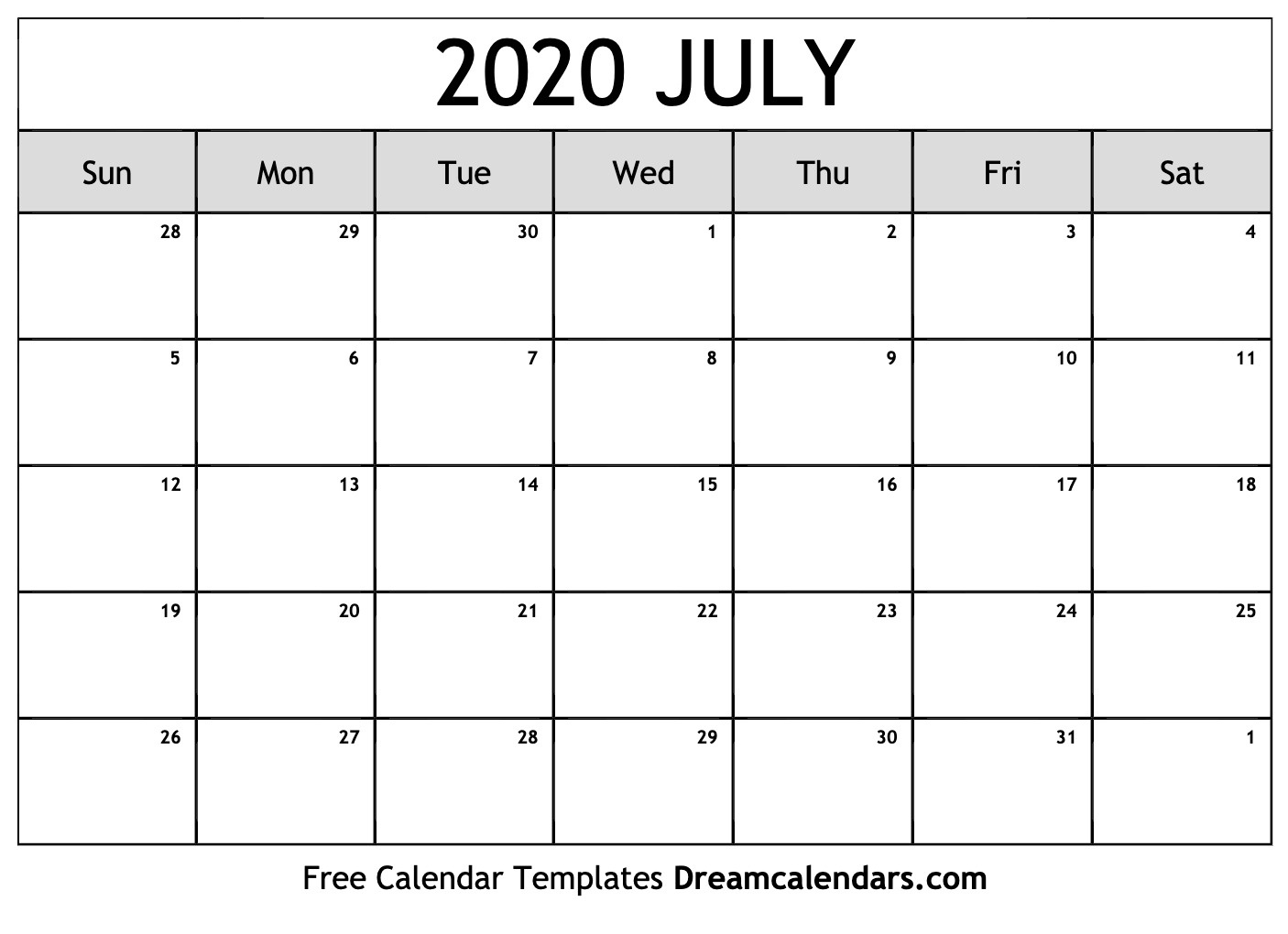 Printable July 2020 Calendar_Blank Calendar For July 2020