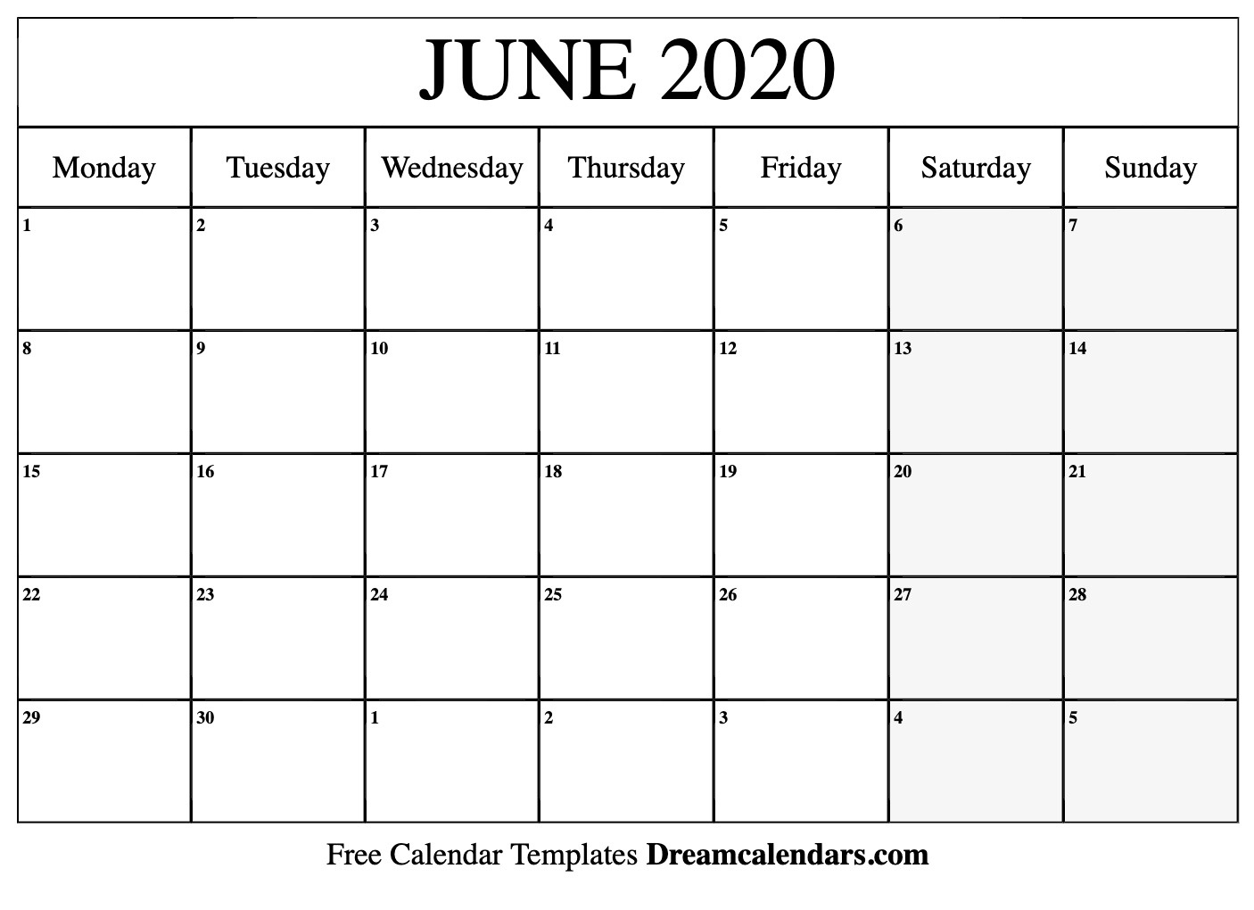 Printable June 2020 Calendar_Blank Calendar Of June 2020