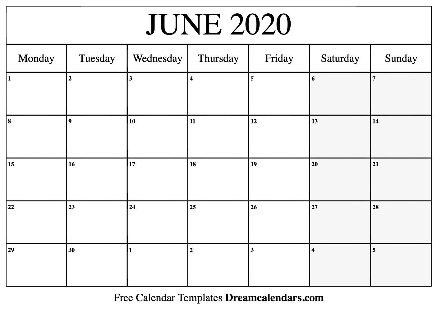 Printable June 2020 Calendar_Blank Calendar Template June 2020