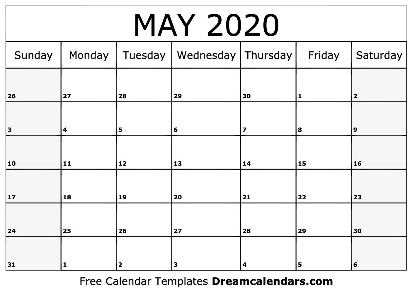 Printable May 2020 Calendar_Blank Calendar May 2020 Pdf