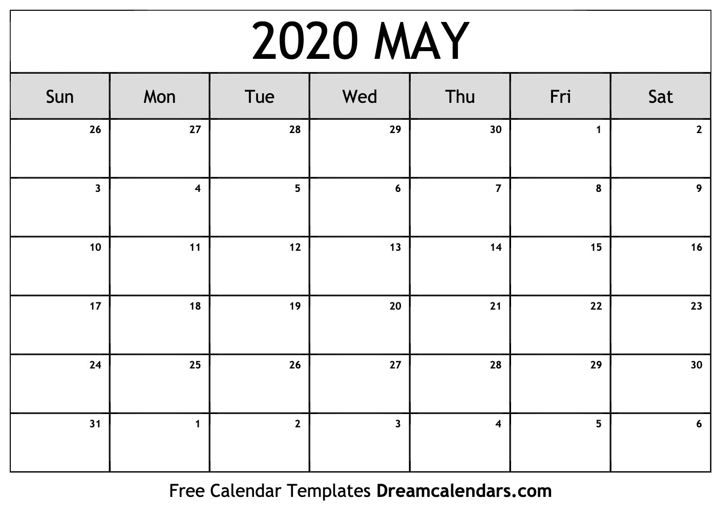 Printable May 2020 Calendar_Blank Horizontal Calendar 2020