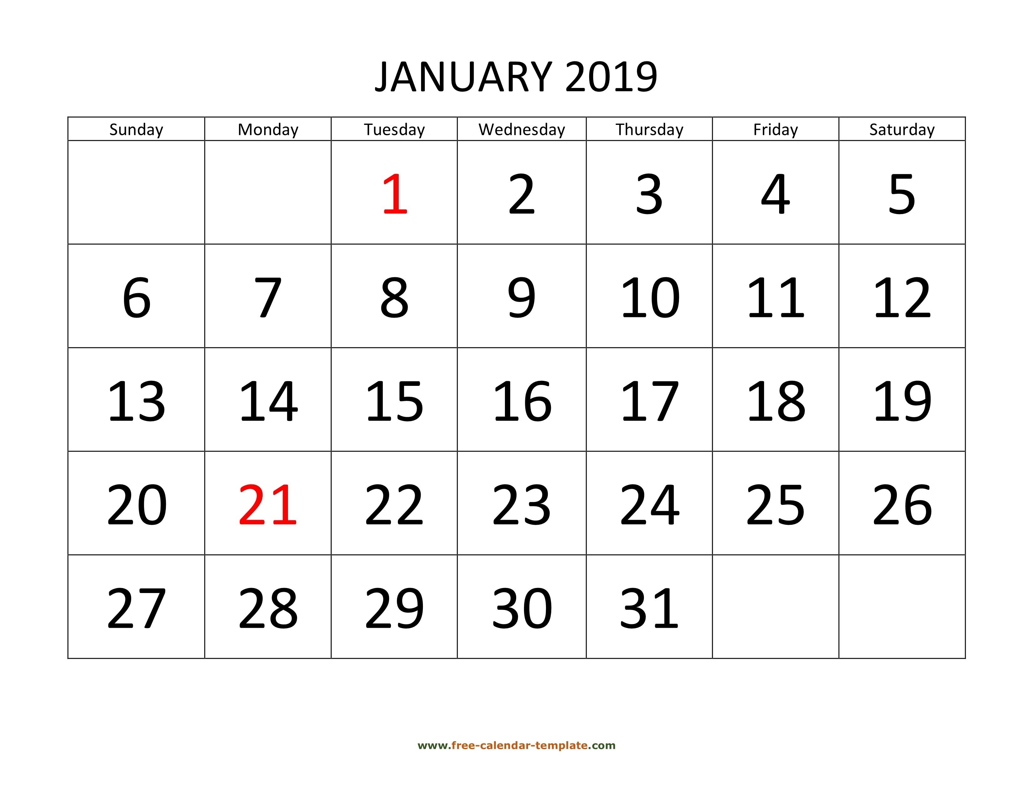 Printable Monthly Calendar 2019 | Free-Calendar-Template_Large Blank Calendar Grid