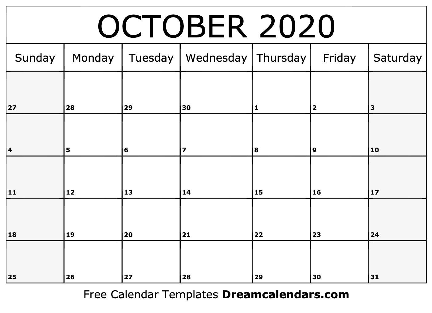 Printable October 2020 Calendar_Blank Calendar For October 2020