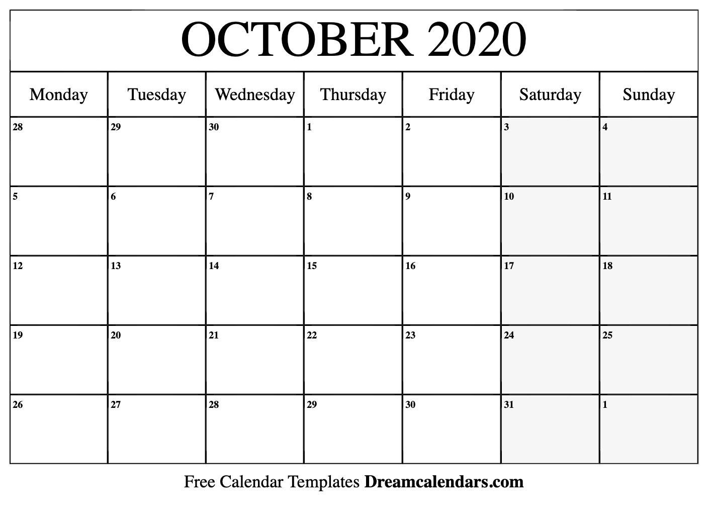 Printable October 2020 Calendar_Blank Calendar October 2020 Pdf