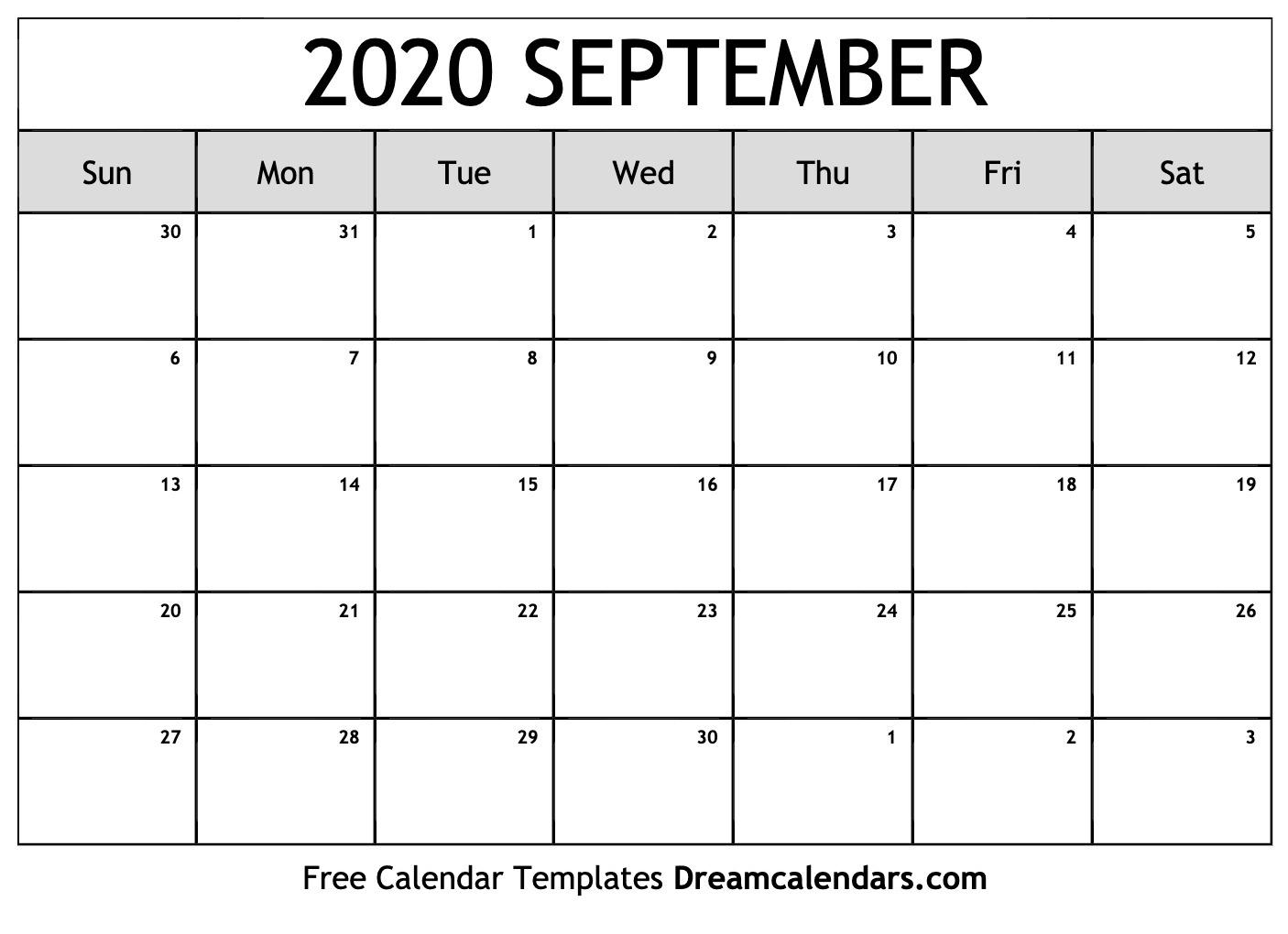Printable September 2020 Calendar_Blank Calendar September 2020 Pdf
