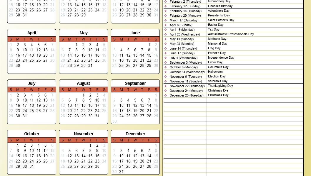 Printing A Yearly Calendar With Holidays And Birthdays - Howto-Outlook_Create A Calendar For Printing