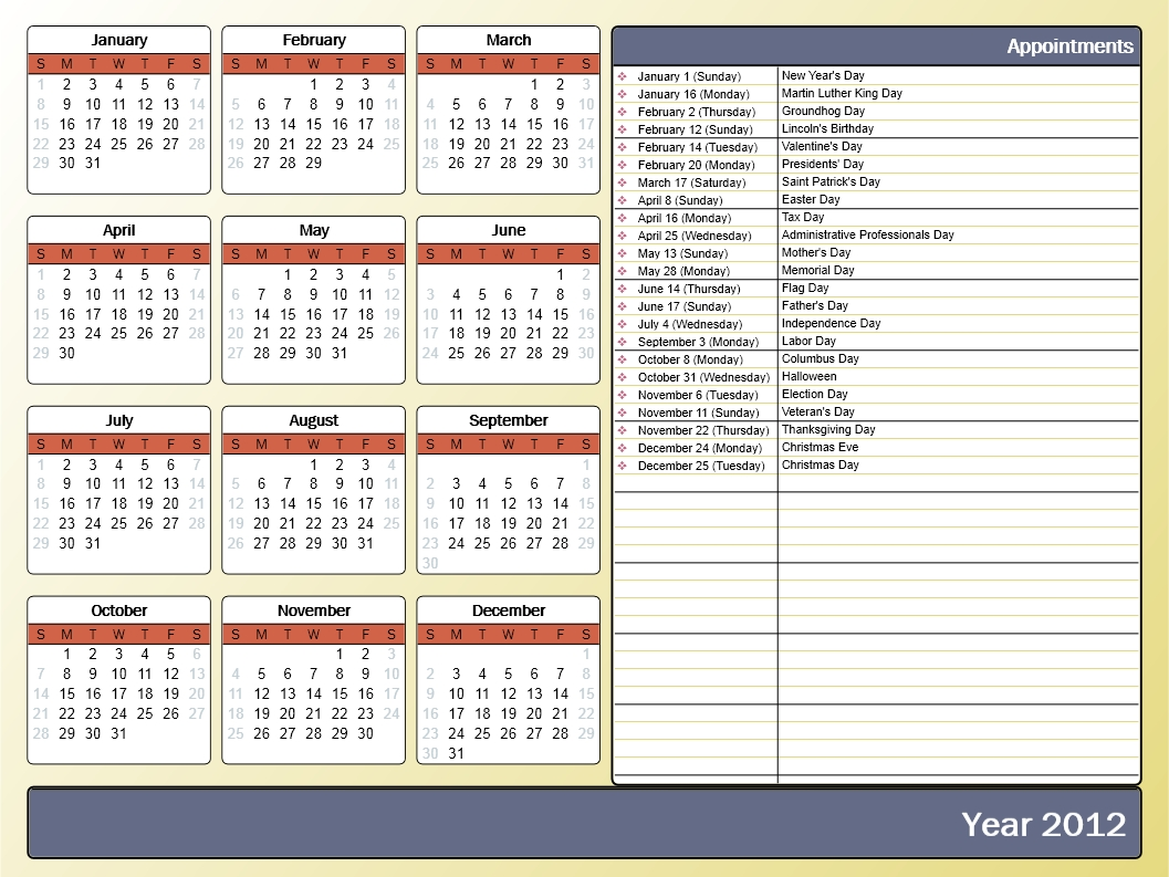 Printing A Yearly Calendar With Holidays And Birthdays - Howto-Outlook_Printing Yearly Calendar Outlook