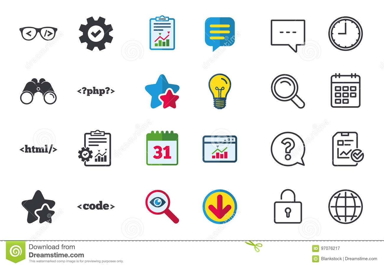 Programmer Coder Glasses. Html Markup Language. Stock Vector_Calendar Icon Code In Html