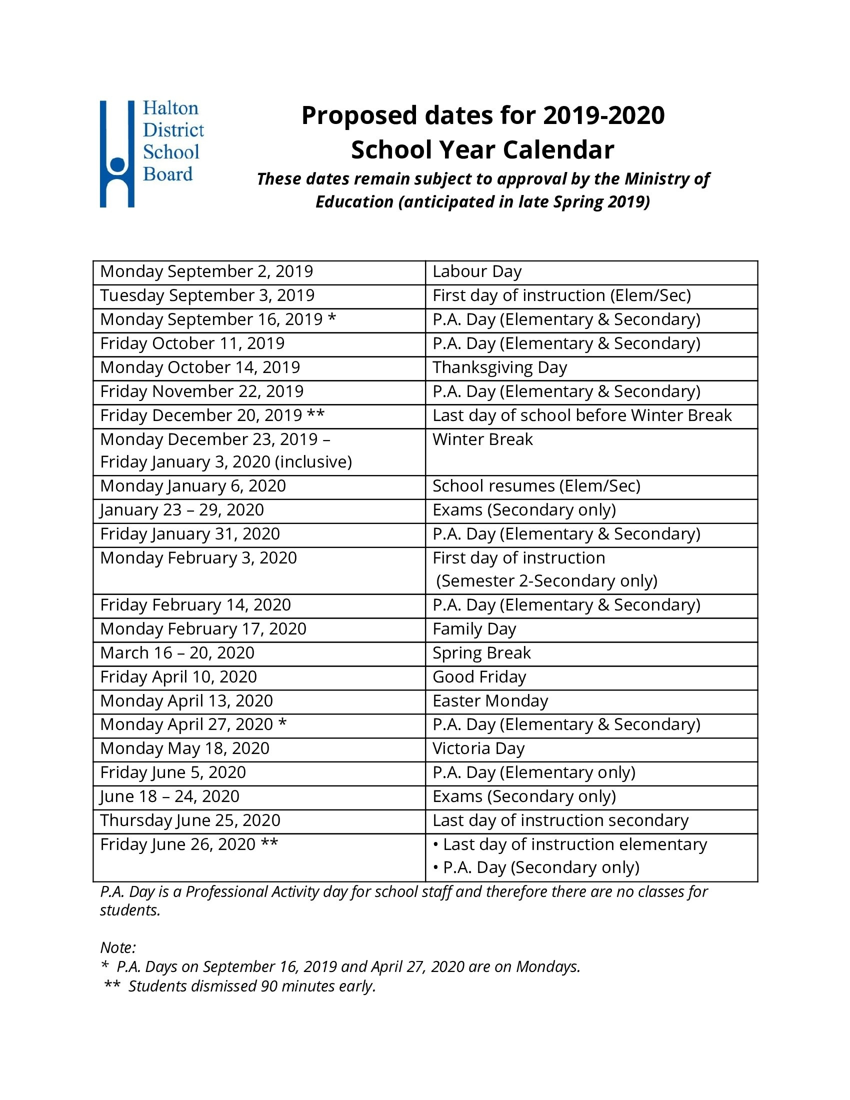 Proposed 2019-2020 School Year Calendar Approved By Board Of Trustees_School Year Calendar Hdsb