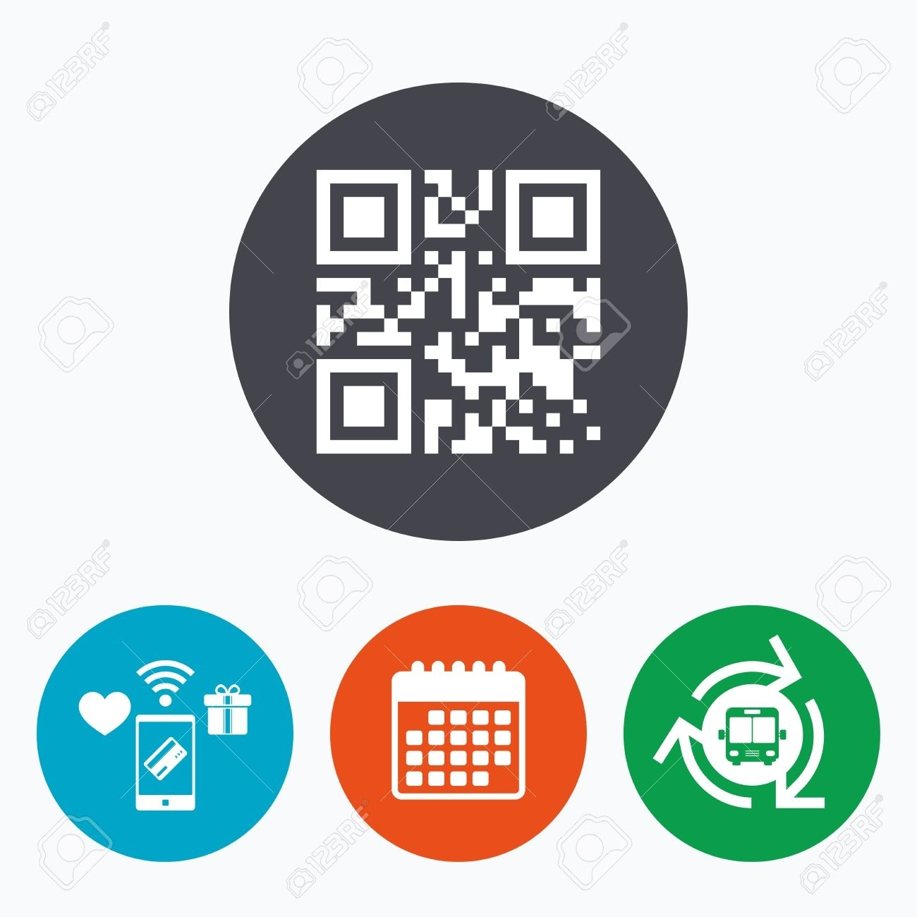 Qr Code Sign Icon. Scan Code Symbol. Coded Word - Success! Mobile.._Calendar Icon In Word