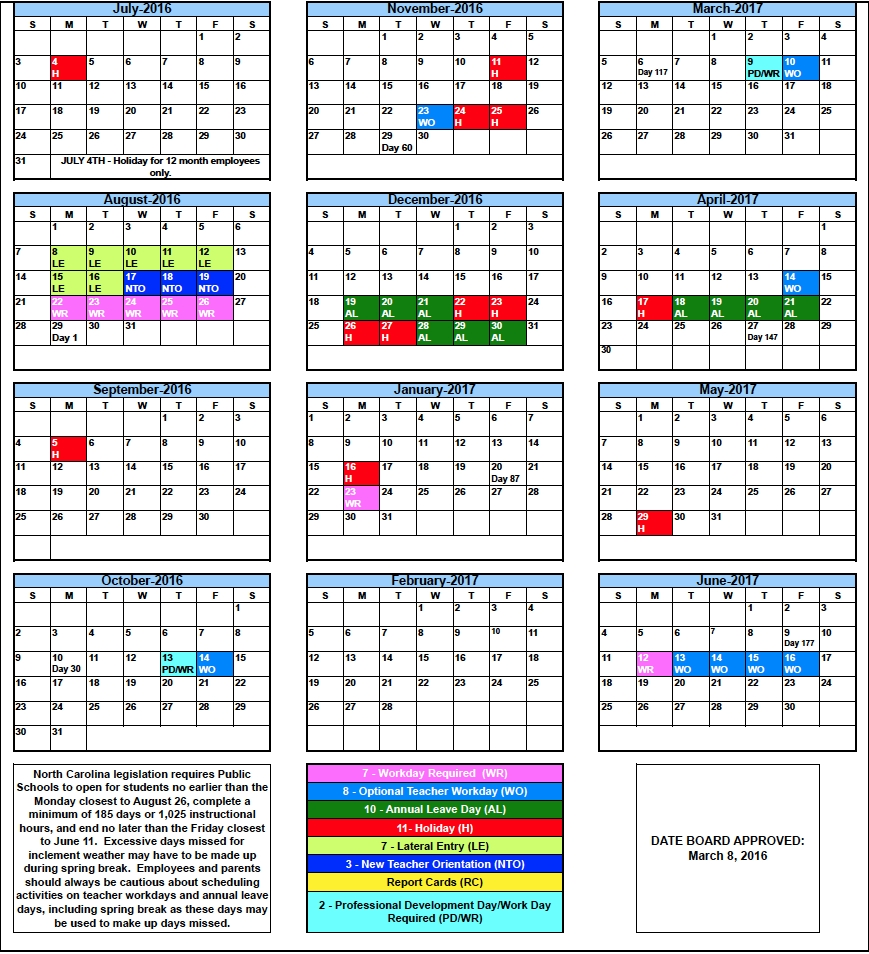 Rcs Calendars For 2016-2017 - Rutherford County Schools_School Calendar Guilford County Nc