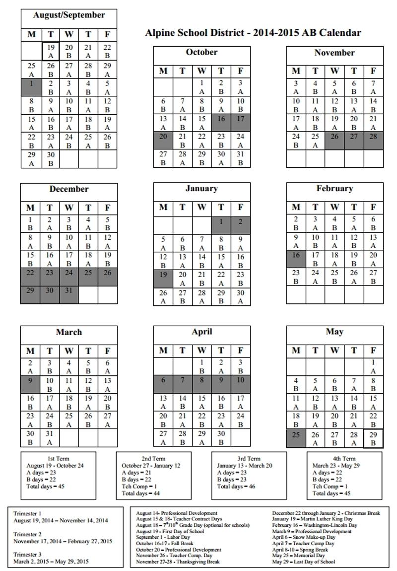 Remarkable Calendar Alpine School District • Printable Blank_Calendar Alpine School District