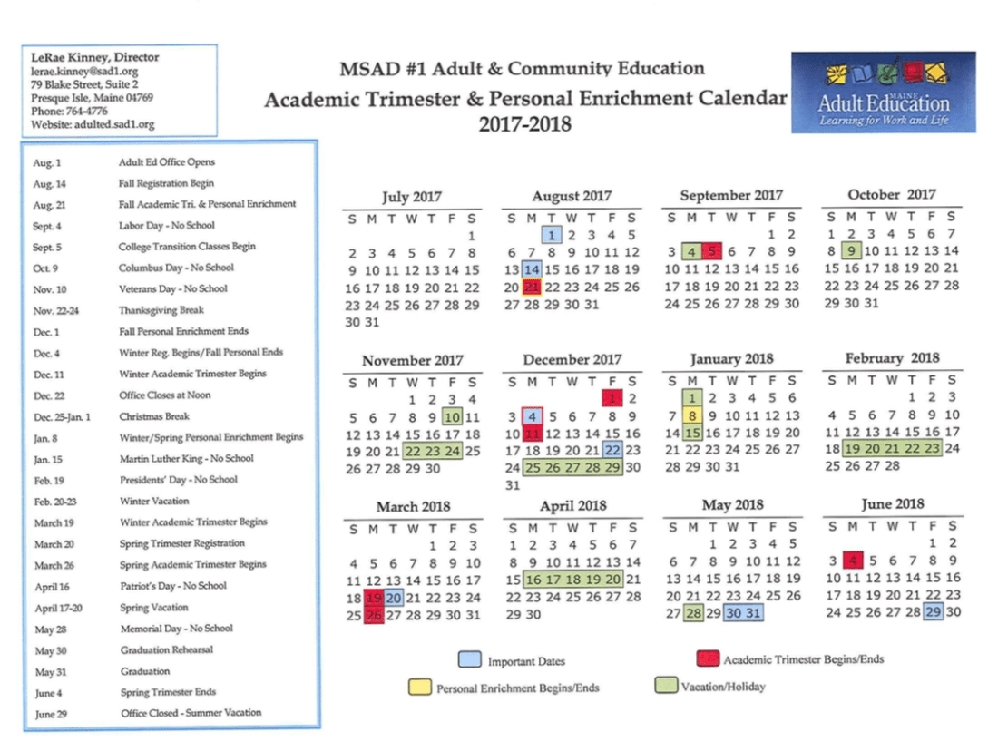 Remarkable Msad 1 School Calendar • Printable Blank Calendar Template_Sad 4 School Calendar
