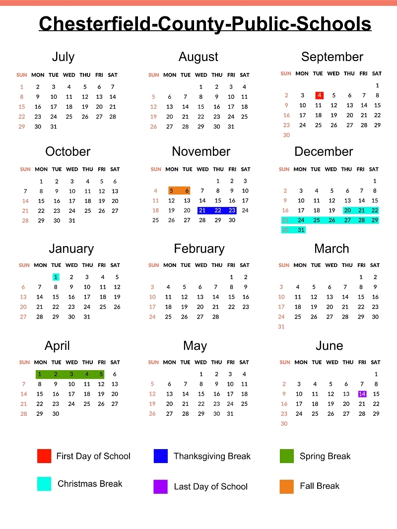 Remarkable School Calendar Chesterfield County • Printable Blank_School Calendar Chesterfield County