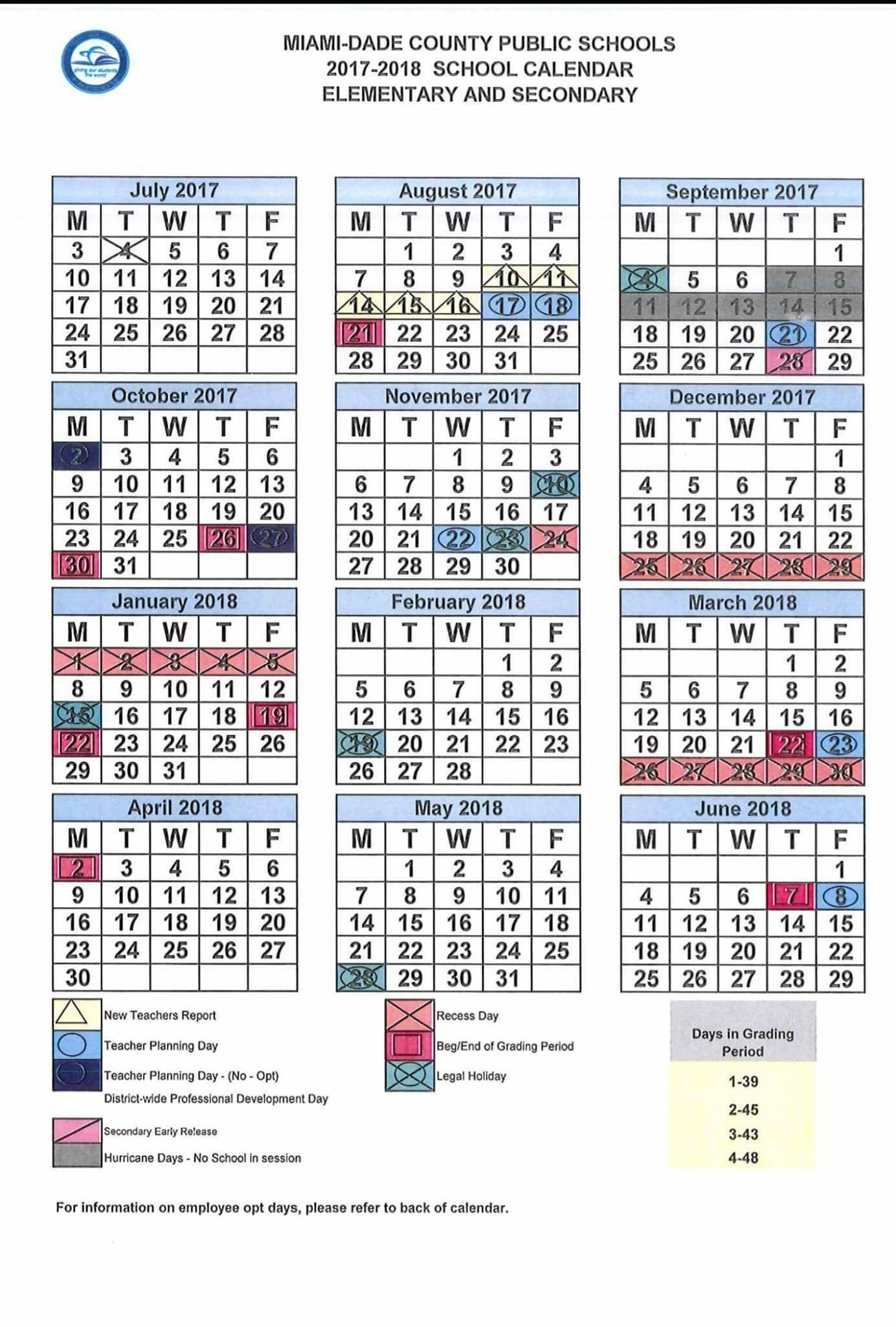 Revised 2017-18 School Calendar – Dr. Dorothy Bendross-Mindingall_Calendar School Year Miami Dade
