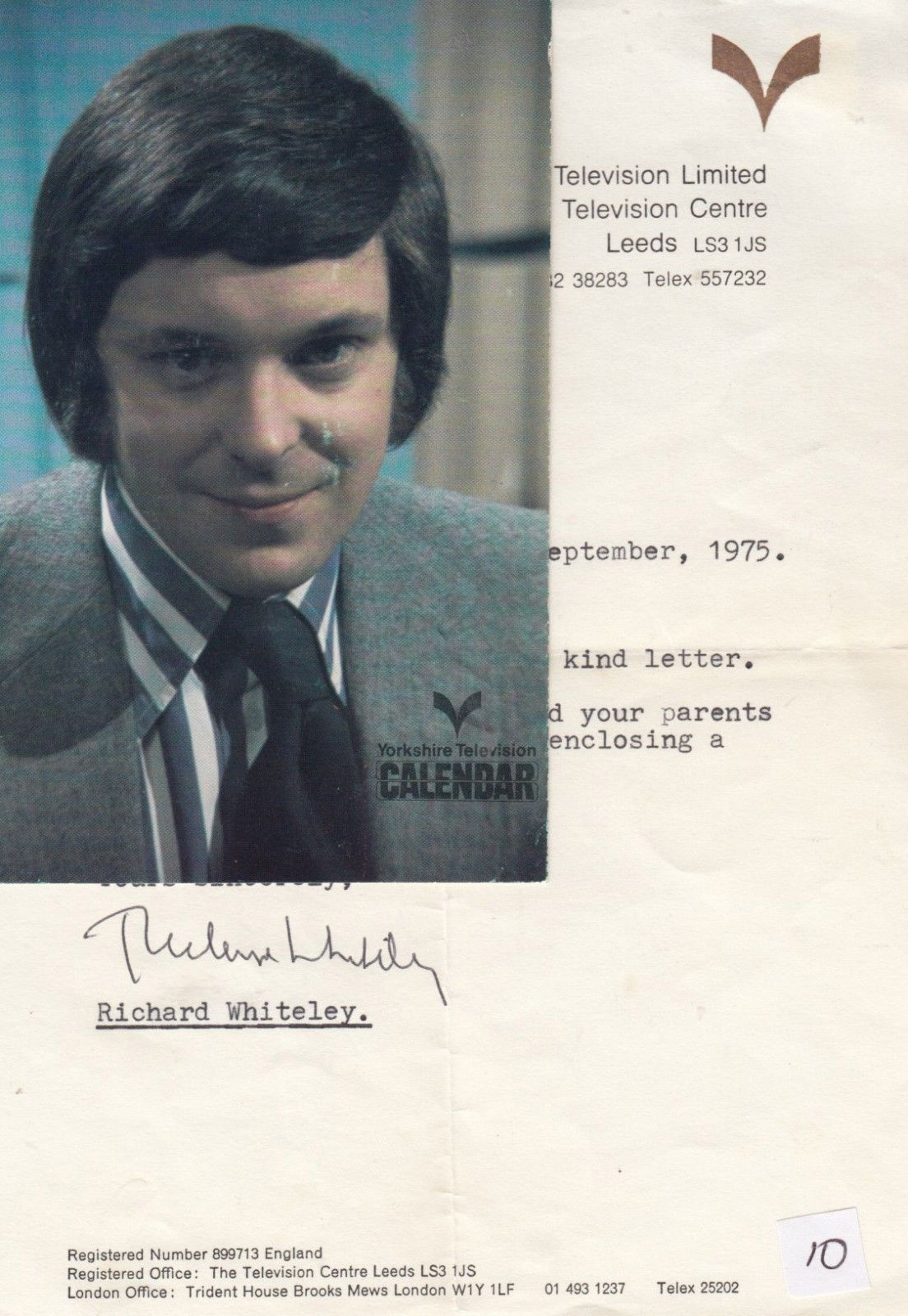 Richard Whiteley Of Countdown Tv Show Calendar Antique Hand Signed Photo  Letter_Calendar Countdown Tv Show