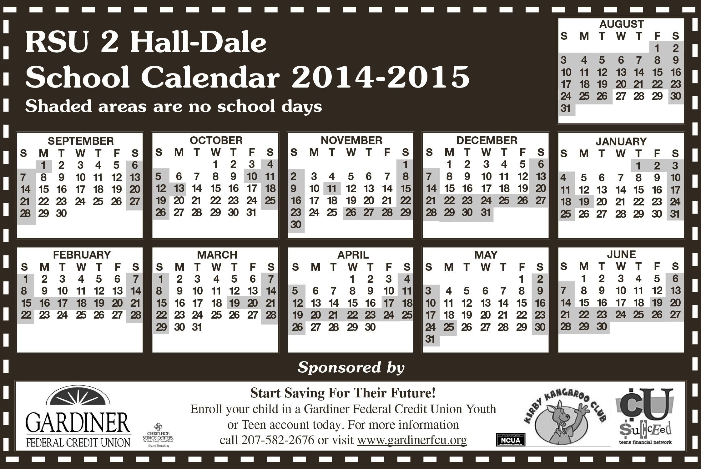 Rsu 2 Calendar - Centralmaine_Rsu 2 School Calendar