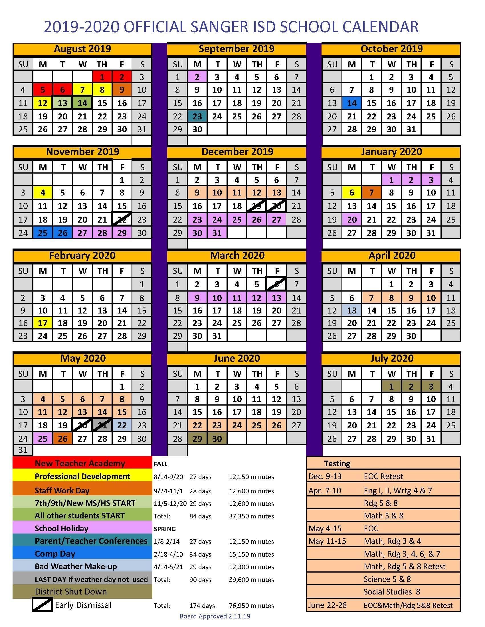 Sanger Independent School District_School Calendar Denton Isd