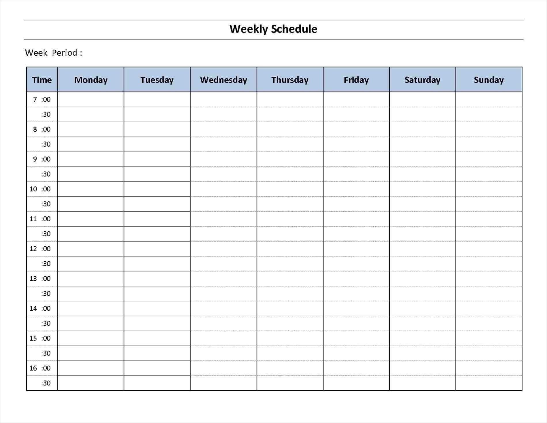 Schedule Template Day Week Calendar Printable Blank | Smorad_7 Day Blank Calendar Template