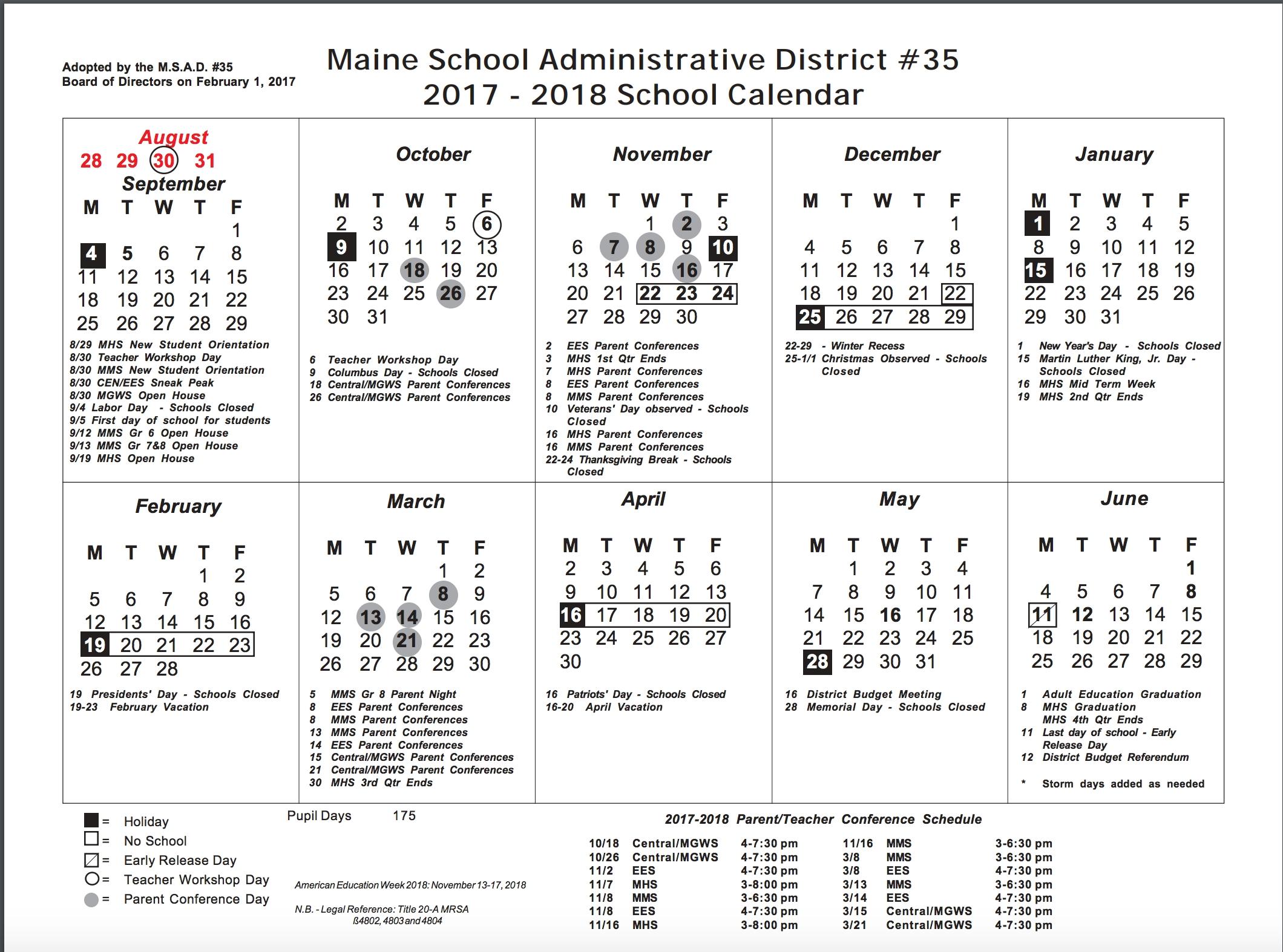 School Calendar 17:18 – Marshwood Ms_Rsu 6 School Calendar