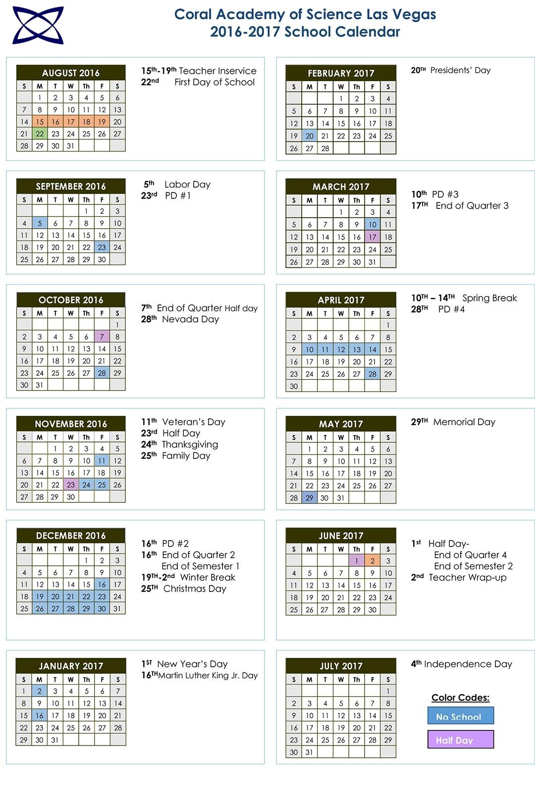 School Calendar 2016-2017 | Coral Academy Of Science Las Vegas_School Calendar Las Vegas