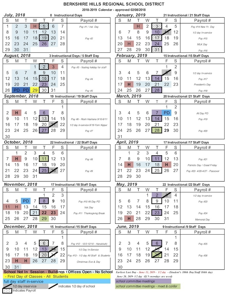 School Calendar 2018-19 – Berkshire Hills Regional School District_Region 7 School Calendar