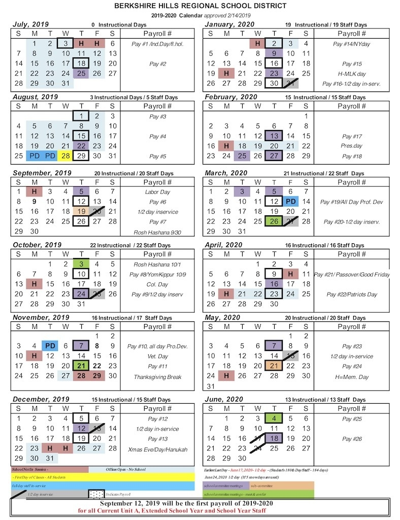 School Calendar 2019-20 – Berkshire Hills Regional School District_7 Hills School Calendar 2020