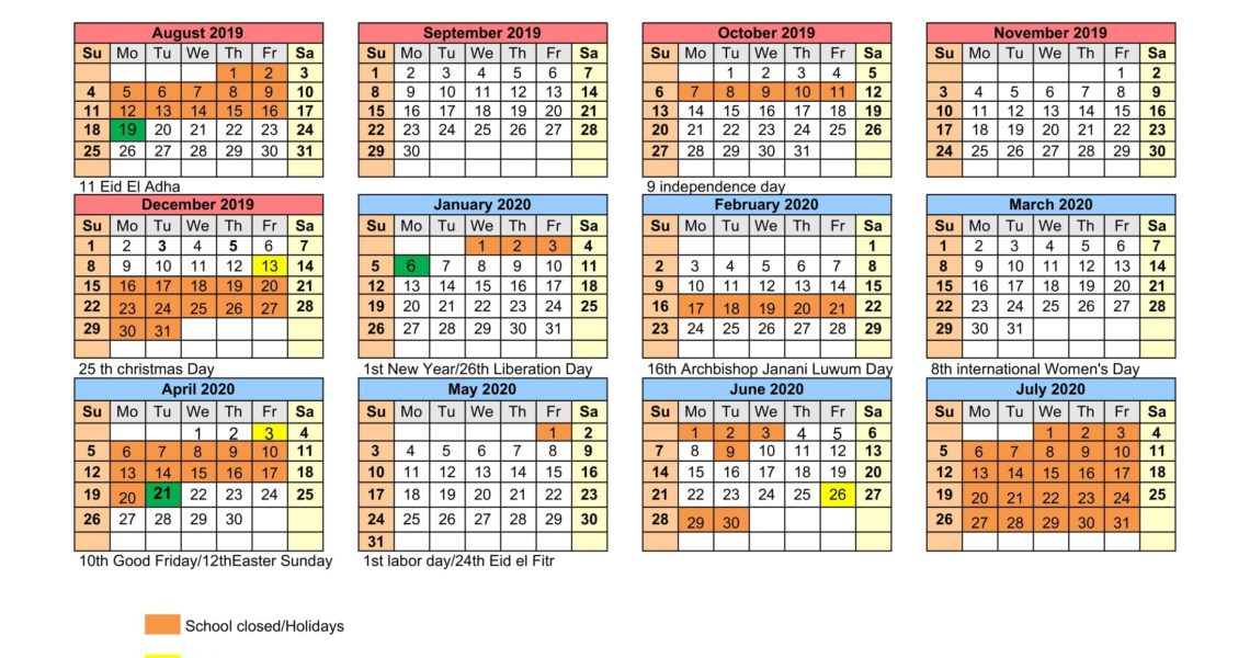 School Calendar – 7 Hills Kampala International Schools Uganda_7 Hills School Calendar