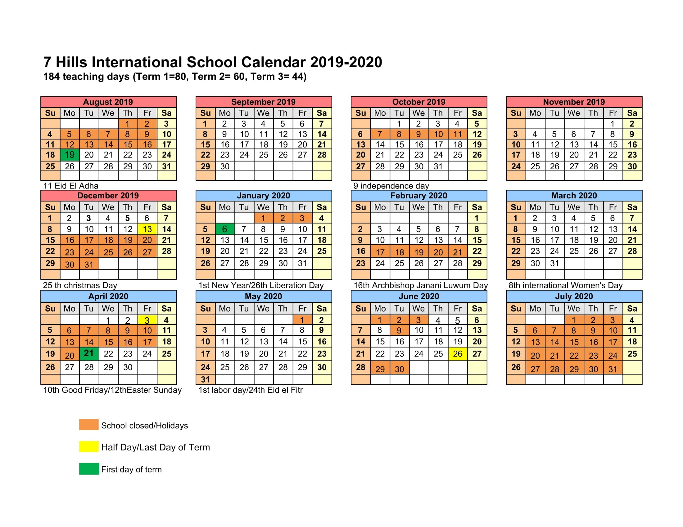 School Calendar – 7 Hills Kampala International Schools Uganda_7 Hills School Calendar 2020