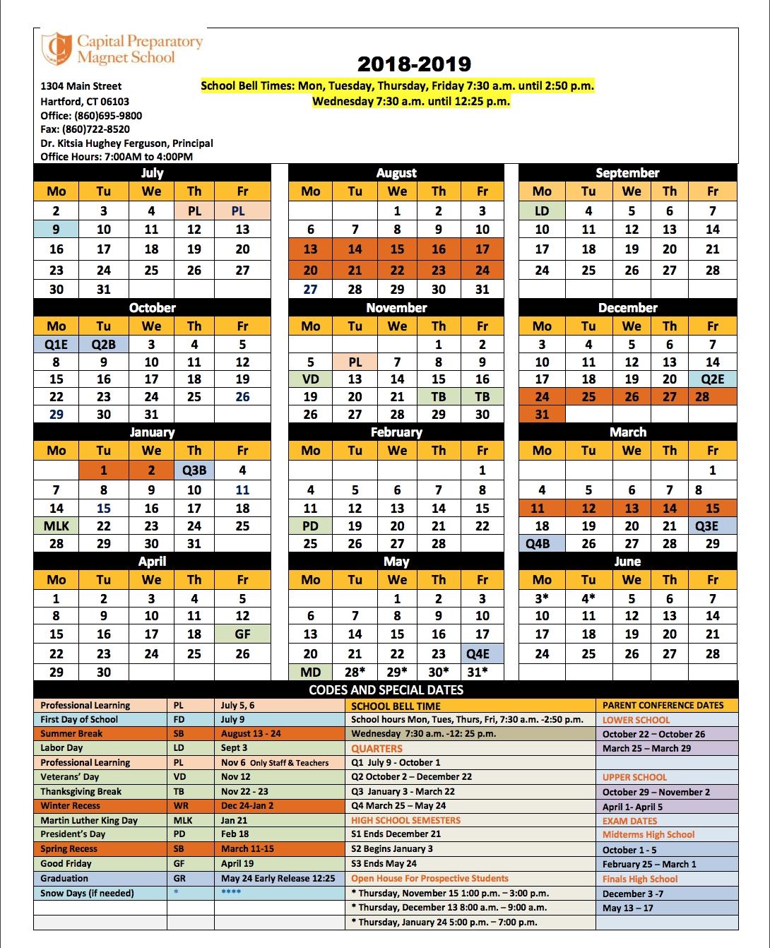 School Calendar - Capital Preparatory Magnet School_Region 9 School Calendar