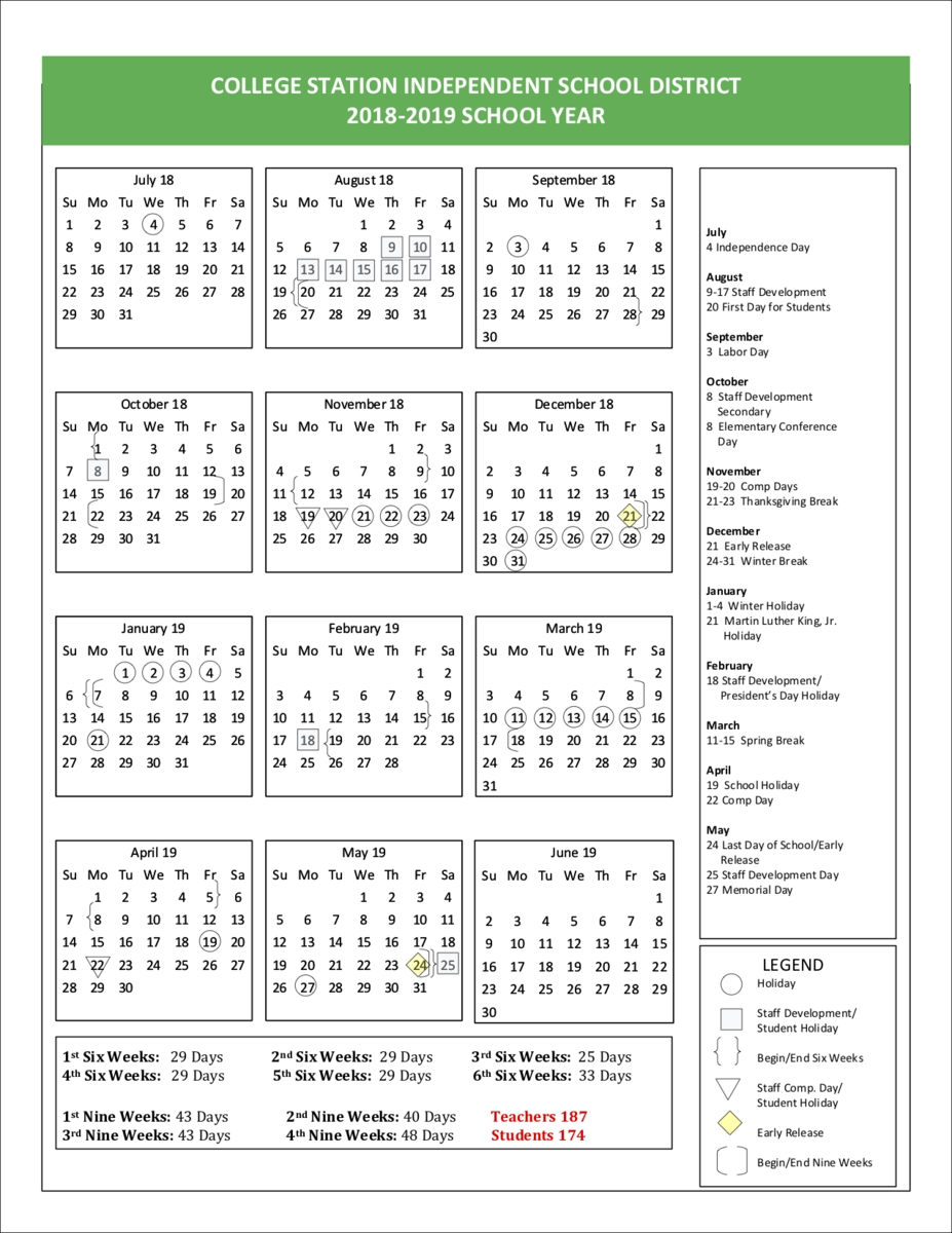 School Calendar - Cypress Grove Intermediate School_A&m School Calendar 2020