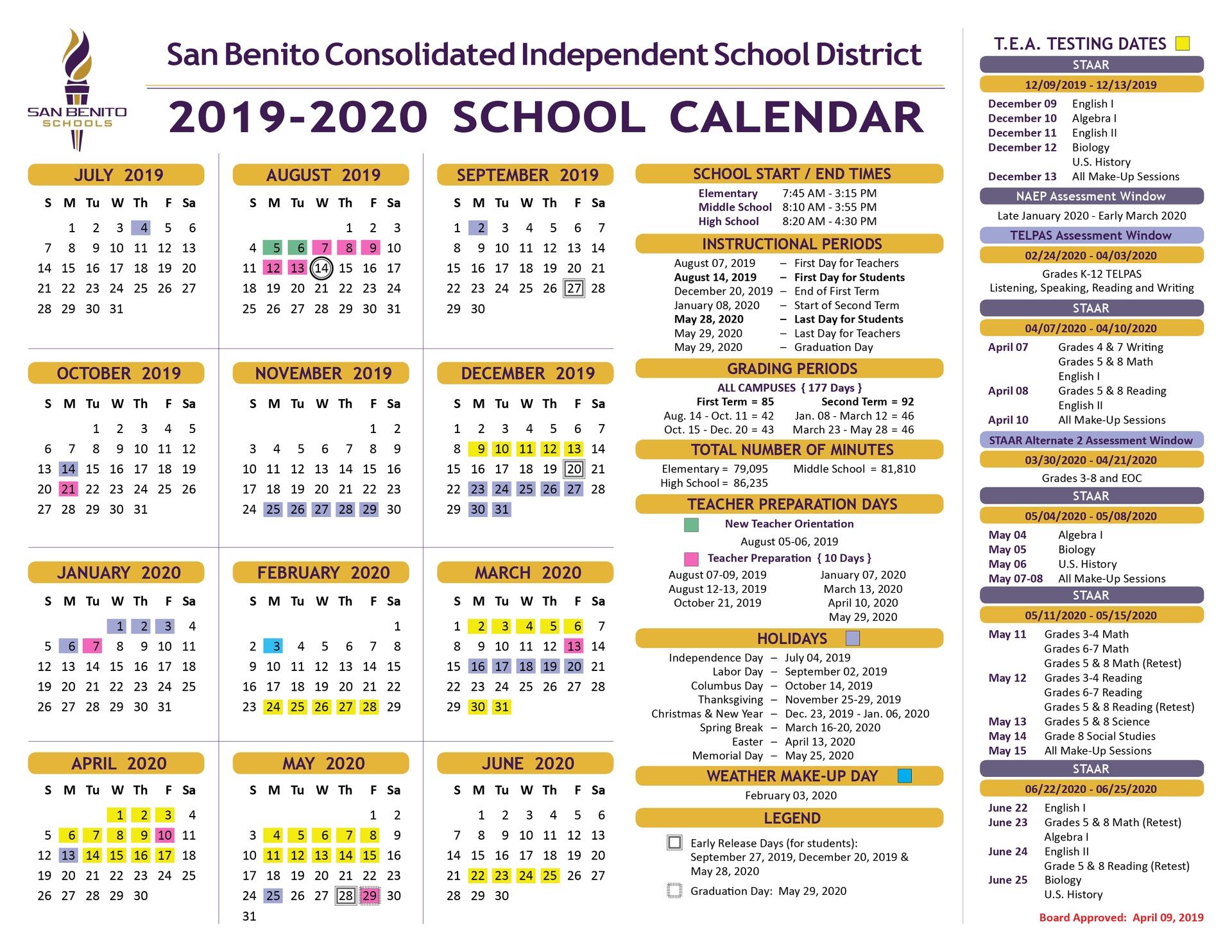 School Calendar – District – San Benito Consolidated Independent_District 6 School Calendar 2020