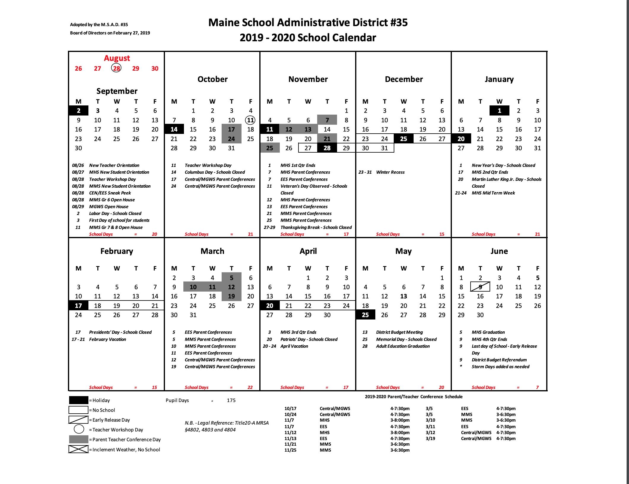 School Calendar For 2019-2020 – Central School_Msad 6 School Calendar