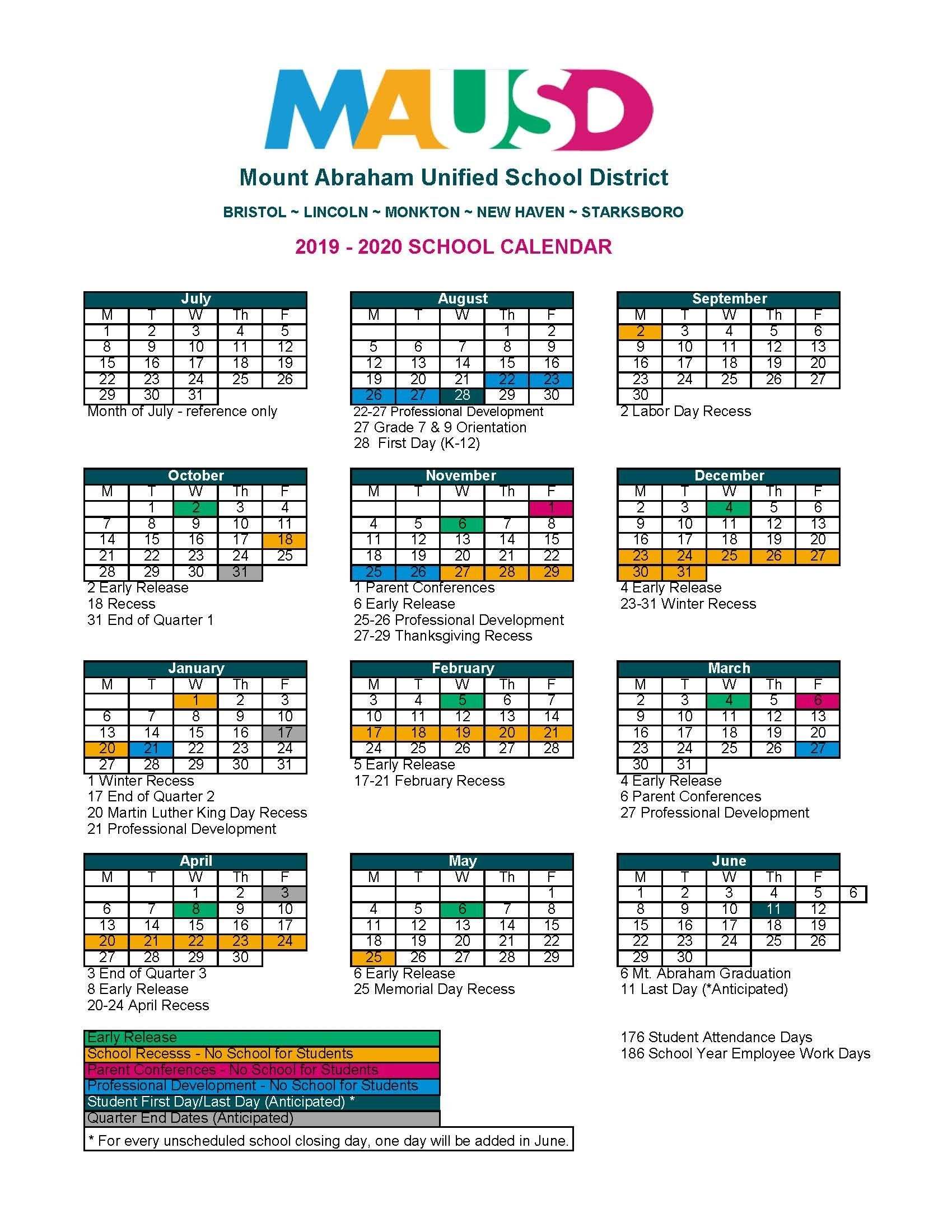 School Calendar - Mausd_U Of K School Calendar