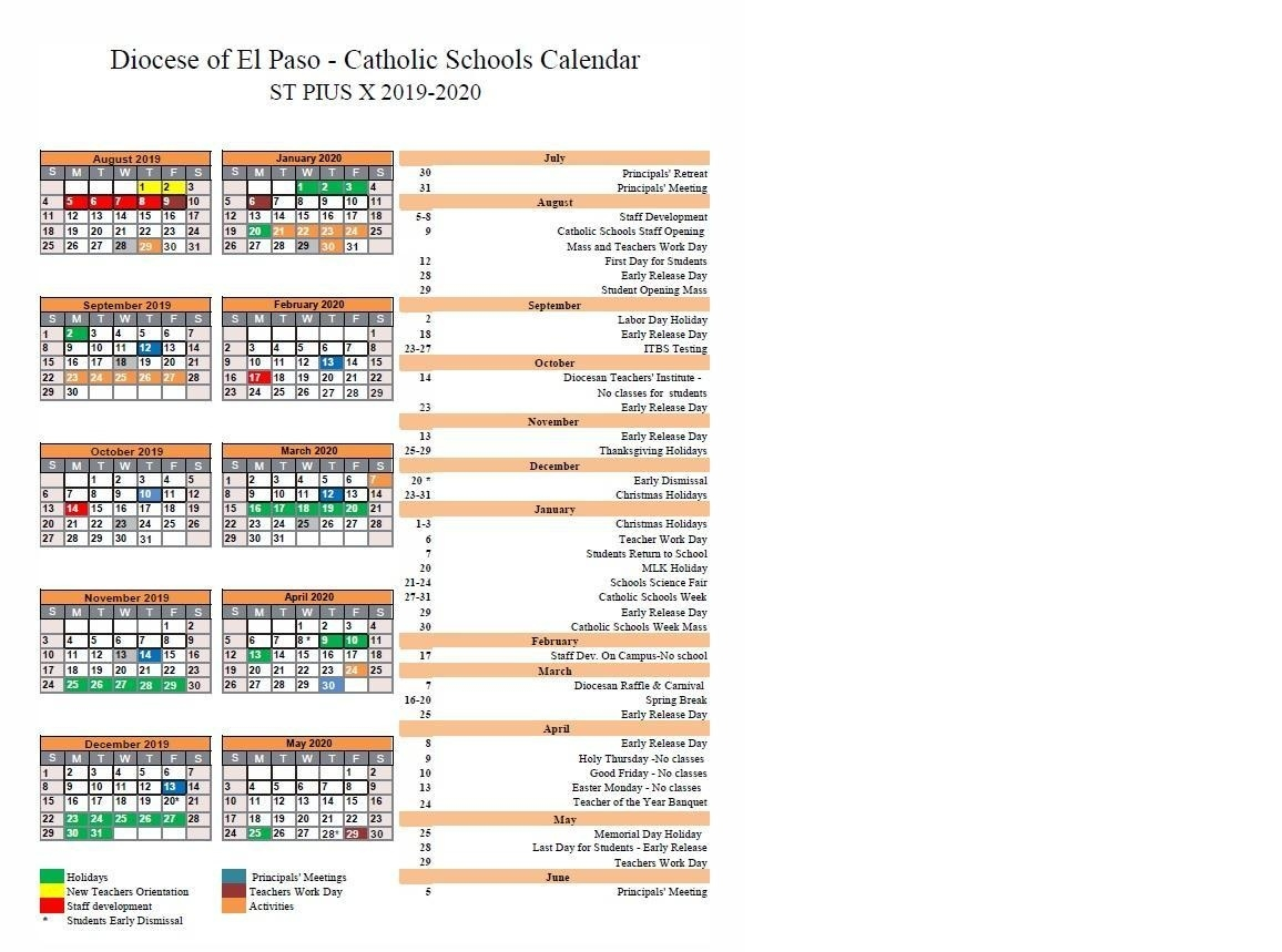 School Calendar – Parent Resources – St Pius X Catholic School_St Pius X School Calendar 2020