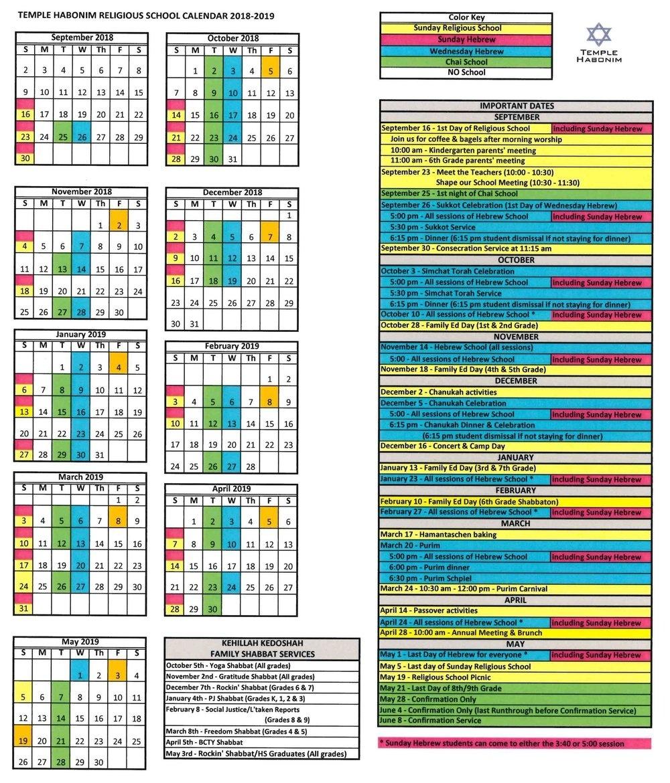 School Calendar — Temple Habonim_School Calendar Rhode Island