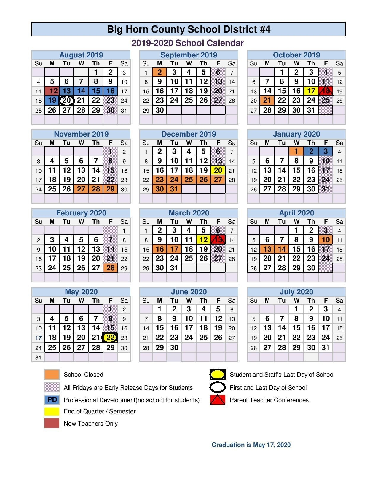 School Calendar_Number 4 School Calendar