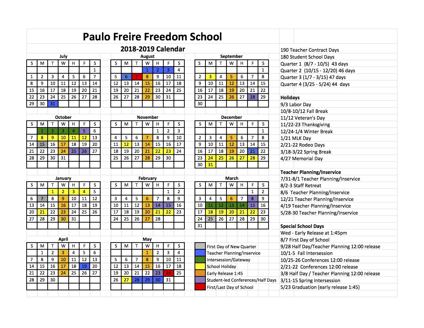 School Calendar_U Of H School Calendar