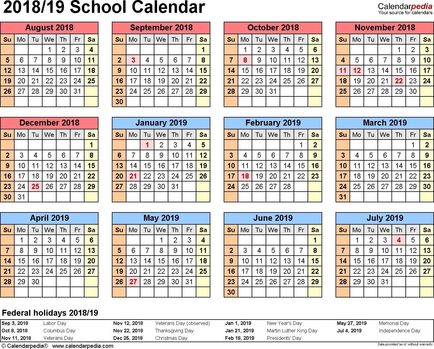 School Calendars 2018/2019 As Free Printable Word Templates_Blank Calendar Template Elementary School