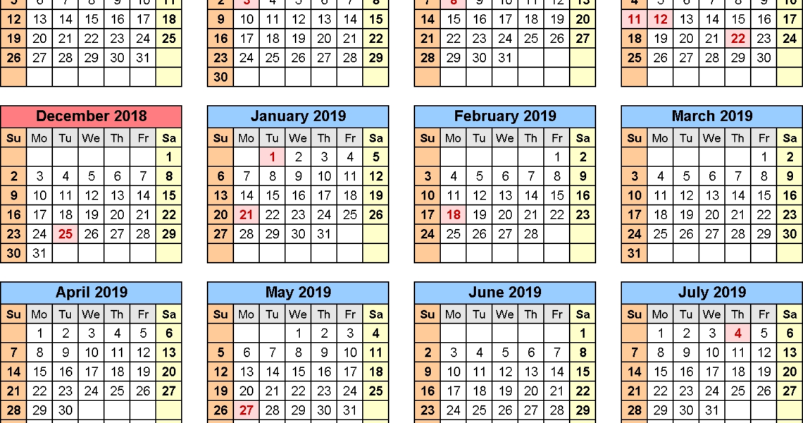 School Calendars 2018/2019 As Free Printable Word Templates_School Calendar Template 18-19