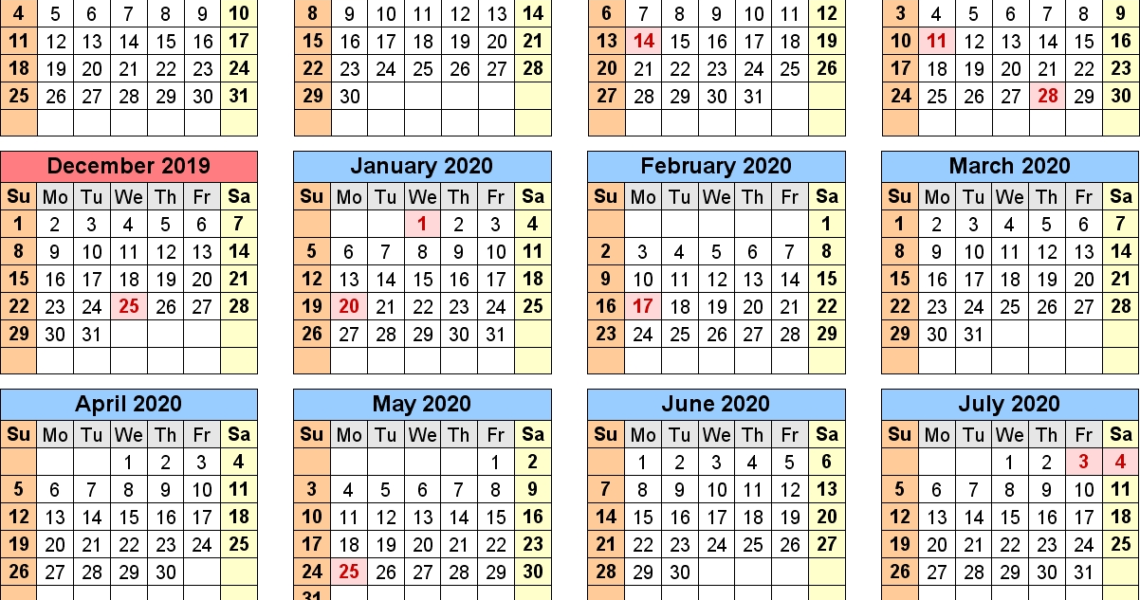 School Calendars 2019/2020 As Free Printable Pdf Templates_Calendar Of School 2020