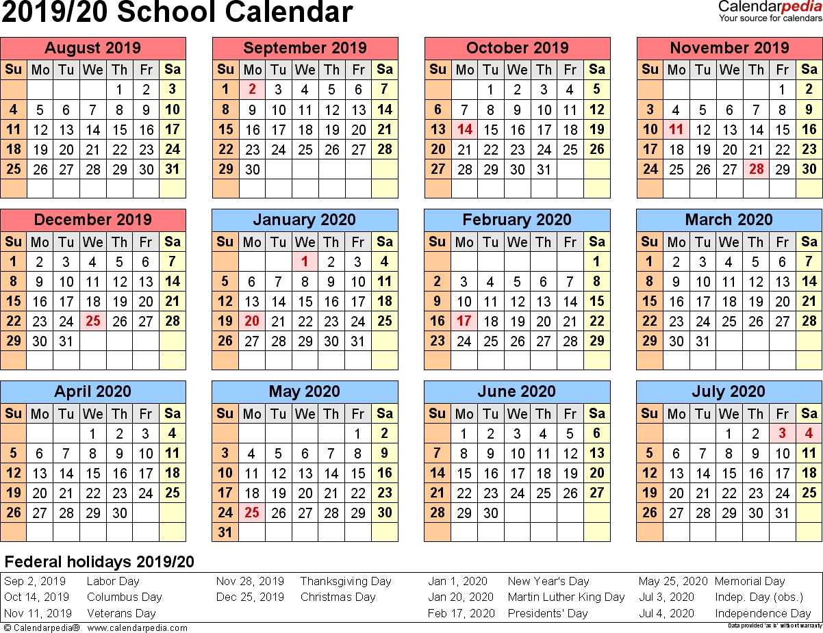 School Calendars 2019/2020 As Free Printable Pdf Templates_Calendar School Year 2020