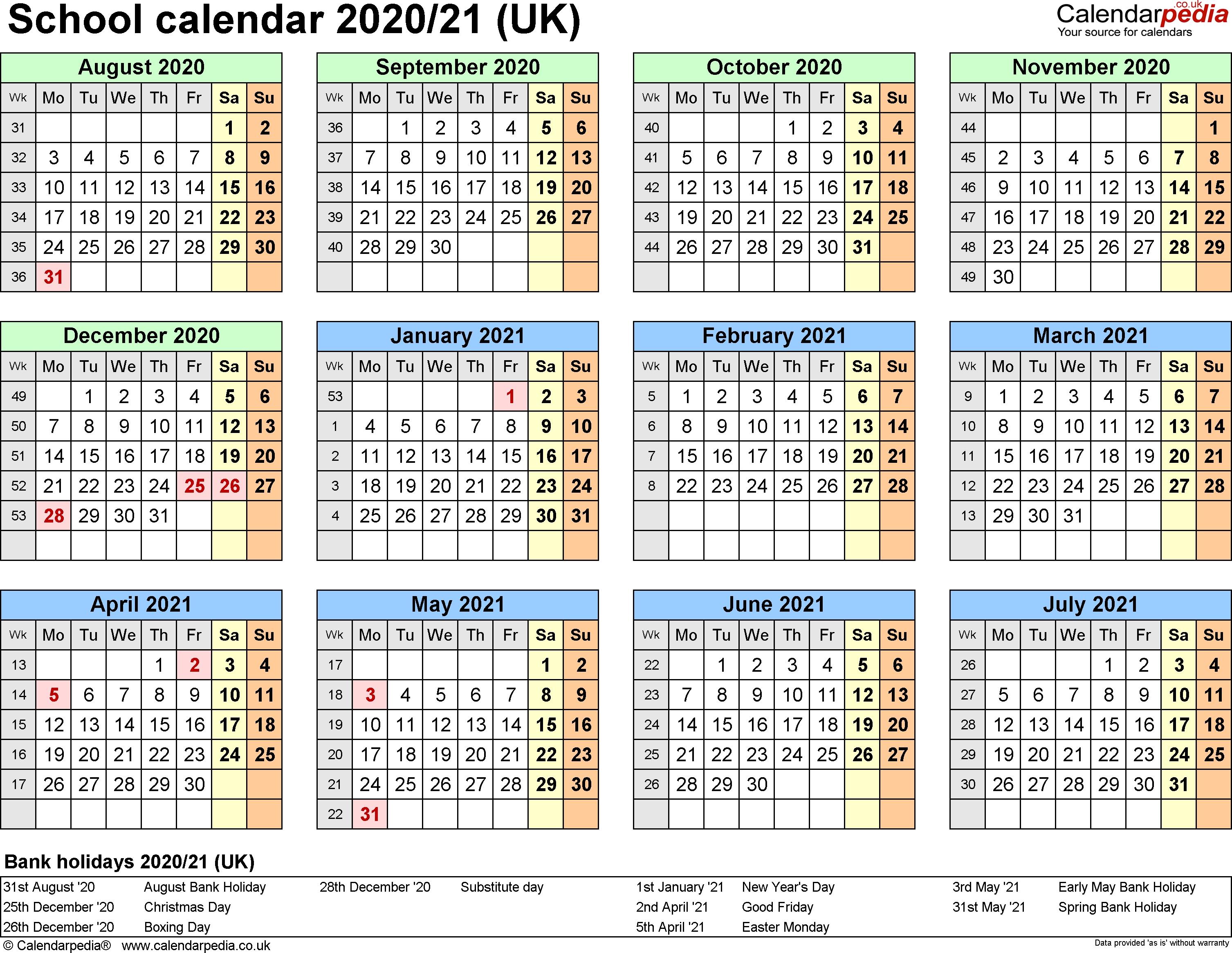 School Calendars 2020/2021 As Free Printable Pdf Templates_Calendar School Usa 2020