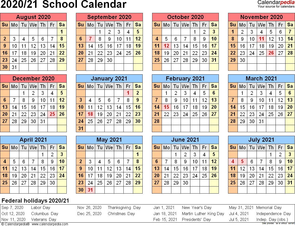 School Calendars 2020/2021 As Free Printable Pdf Templates_Calendar School Usa 2020