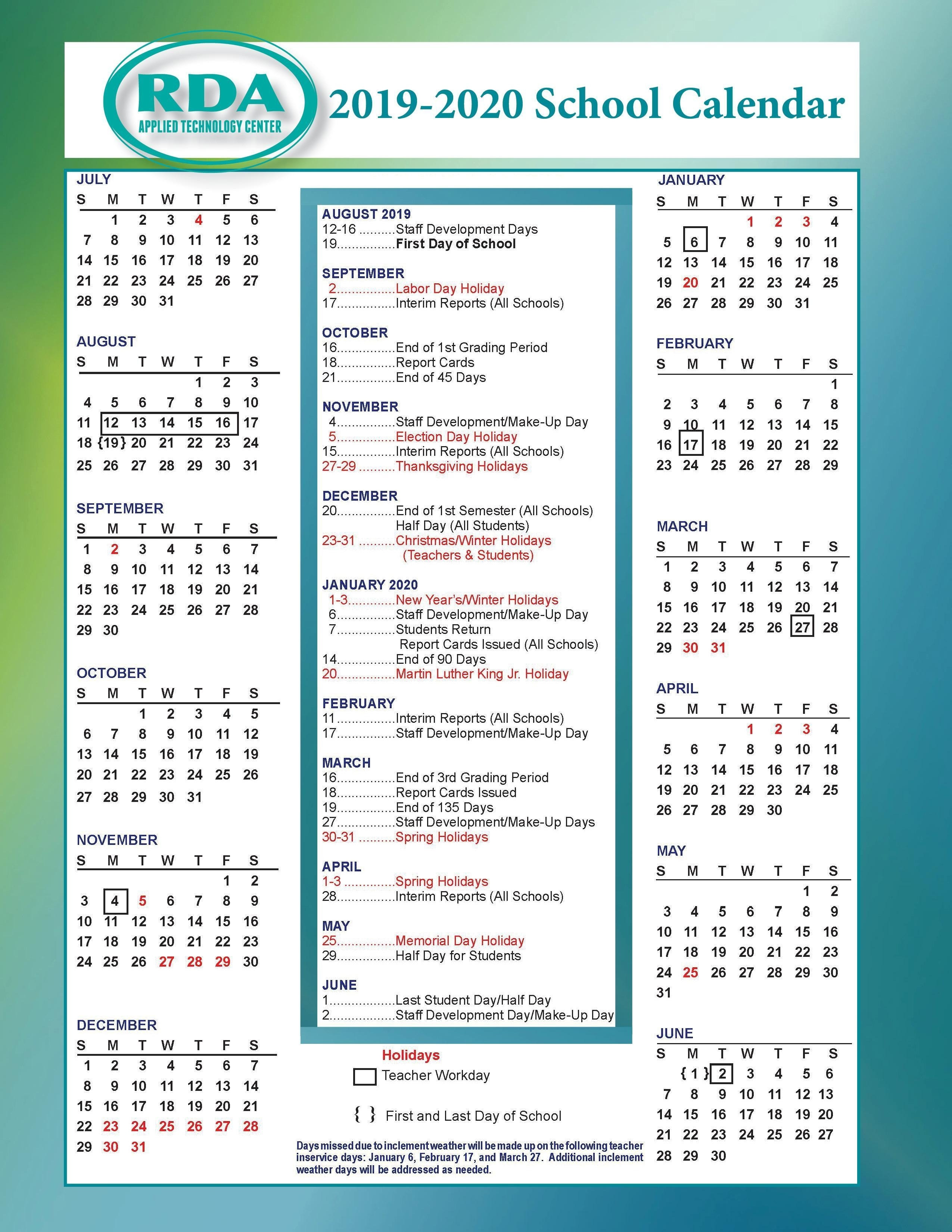 School Calendars – Parent/student Resources – Rd Anderson Atc_Spartanburg 6 School Calendar