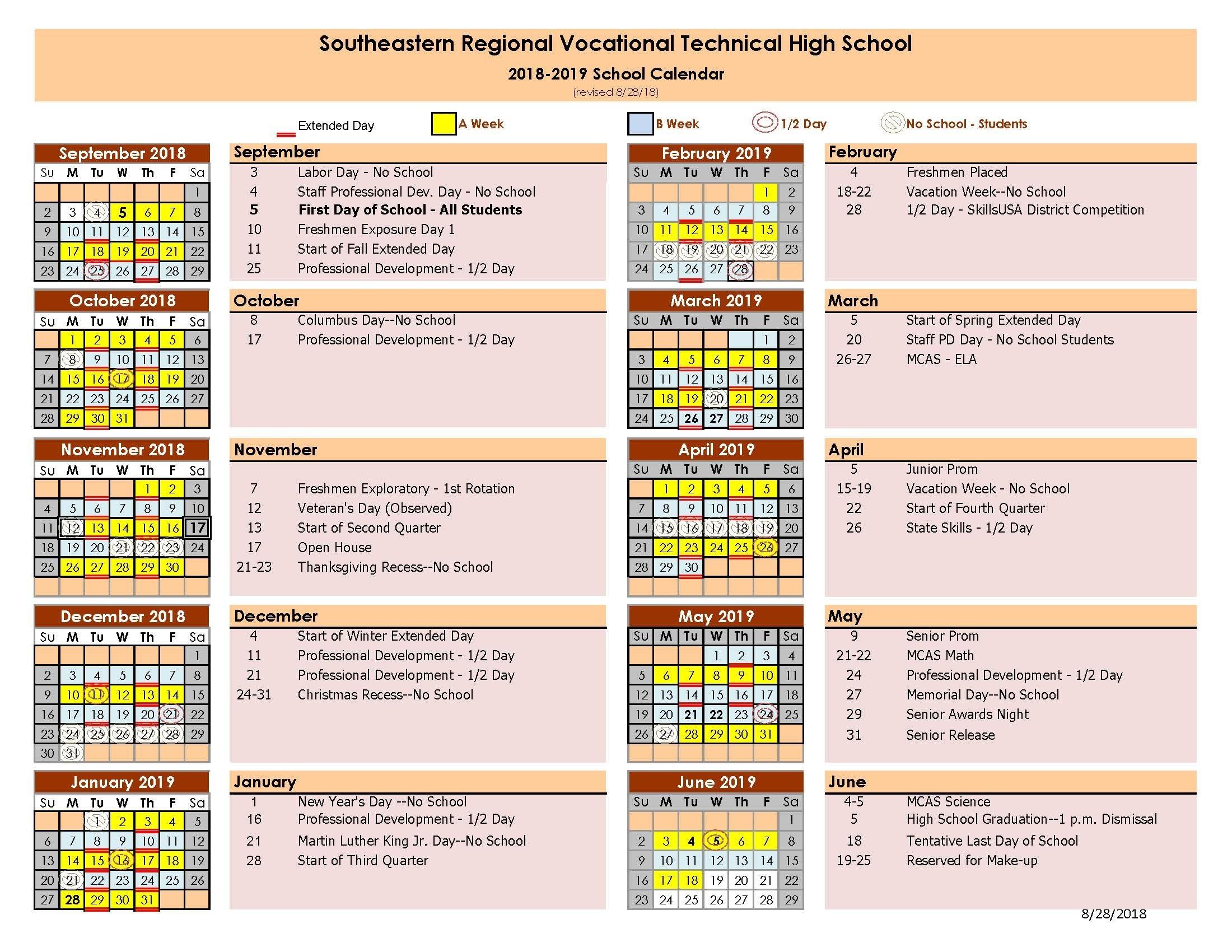 School Day Calendar | Southeastern Regional_Region 1 School Calendar