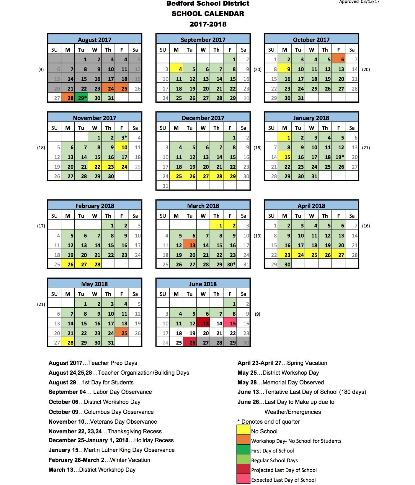 School District Calendar | Bedford Ptg_Sau 9 School Calendar