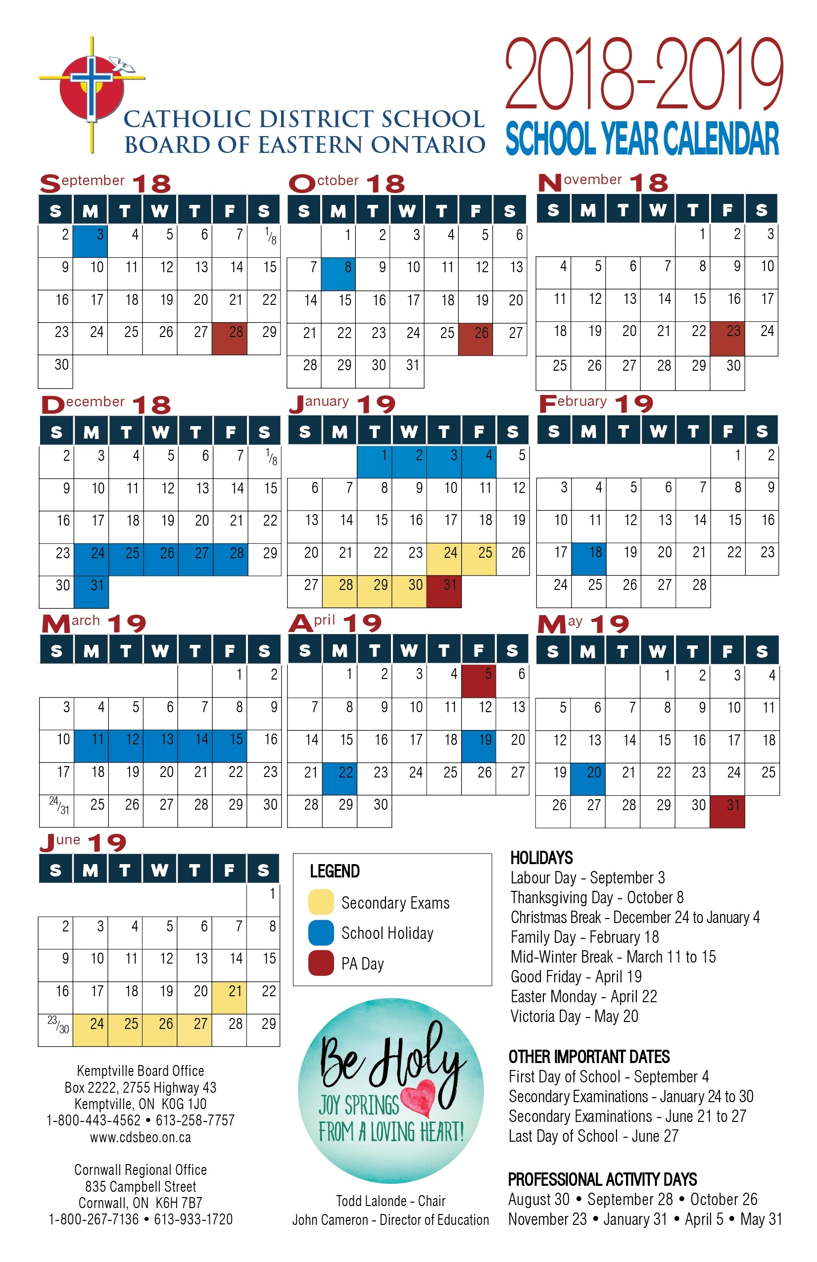 School Year Calendar   Catholic District School Board Of Eastern_School Calendar Port St Lucie