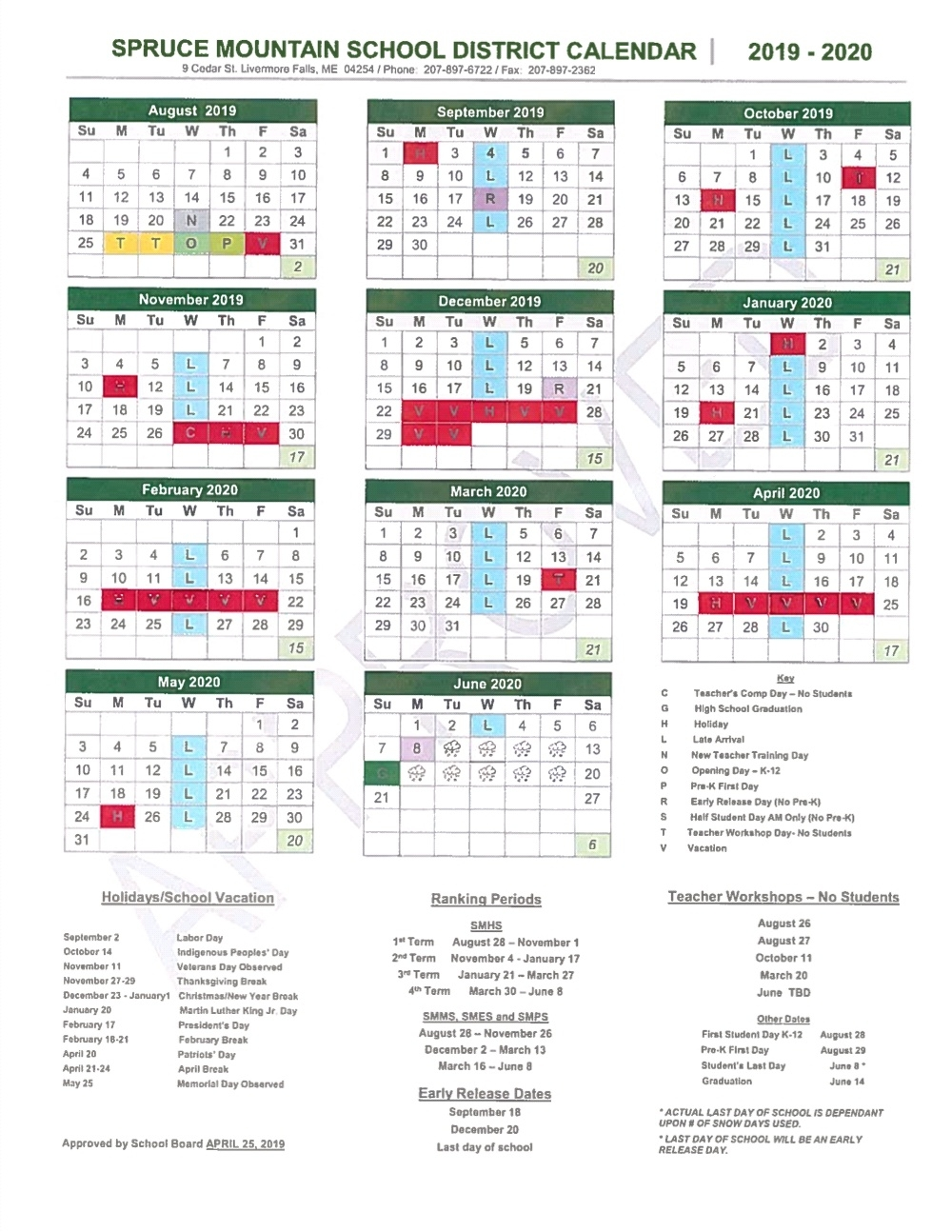 School Year Calendar - Spruce Mountain School District_Rsu 2 School Calendar