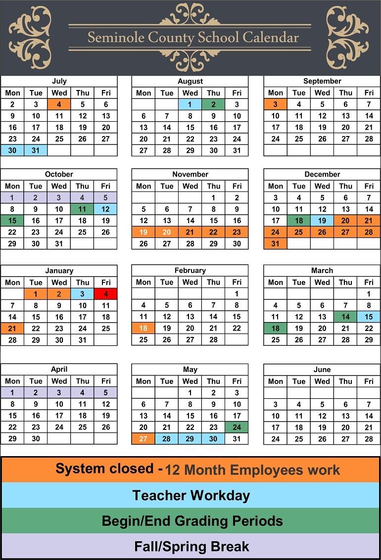 Seminole County School Calendar 1 Leon | Jcreview_School Calendar Seminole County